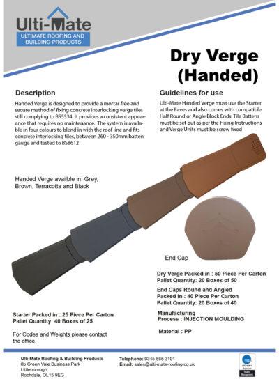 Dry Verge Handed Data Sheet
