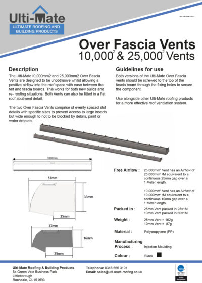 Over Fascia Vent Data Sheet