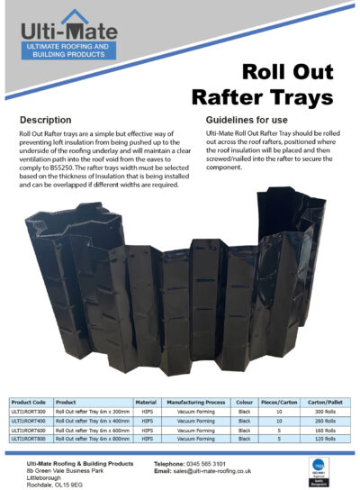 Roll Out Rafter Tray Data Sheet